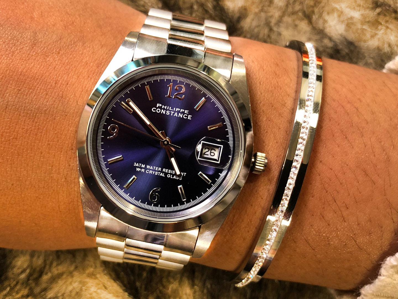 concurrerende prijs nieuwe authentiek super goedkoop Philippe Constance - Dameshorloge - 4025 Large - Staal - Zilver - Indigo  Blauw - Gratis Verzending
