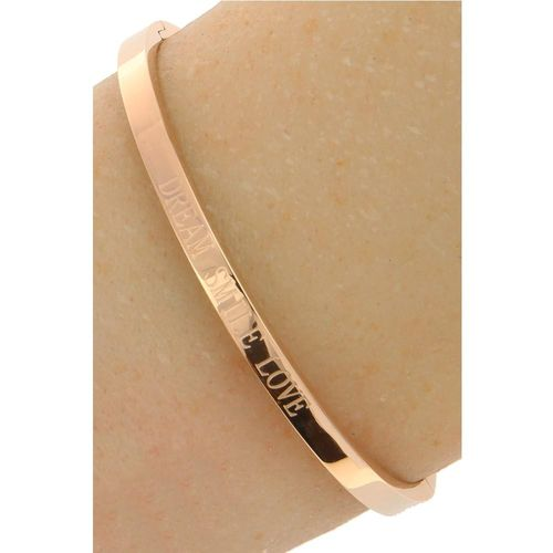 "Stalen Dames Tekst Armband ""Dream Smile Love"" - Roséplating - Gepolijst Stainless Steel"