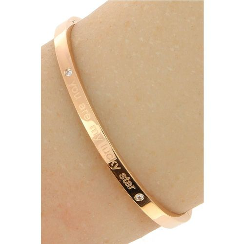 "Stalen Dames Tekst Armband ""You Are My Lucky Star"" - Roséplating - Strass - Gepolijst - Rvs"