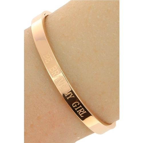 "Dames Quote Armband ""Be Brave My Girl"" - Roséplating - Gepolijst Stainless Steel"