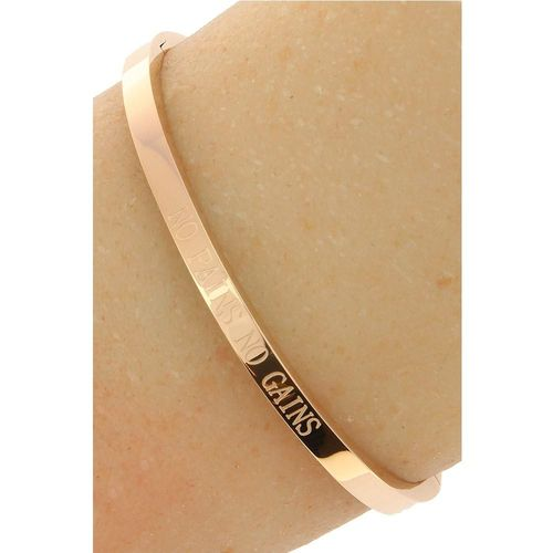 "Stalen Dames Quote Armband ""No Pains No Gains"" - Roséplating - Gepolijst Stainless Steel"